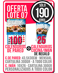 OFERTA 07 CALENDARIOS DE PARED CON FOTO