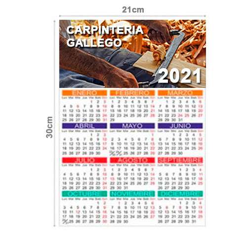 CALENDARIO TODO COLOR ANUAL 21x30cm