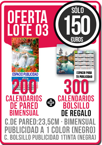 OFERTA 03 CALENDARIOS PARED BI