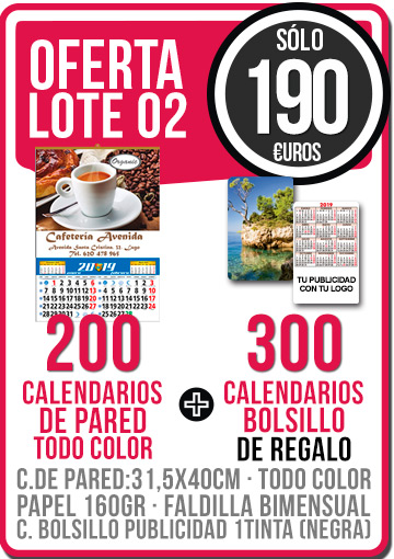 OFERTA 02 CALENDARIOS PARED TODO COLOR