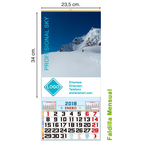 CALENDARIO TODO COLOR DE 23 cm. MENSUAL