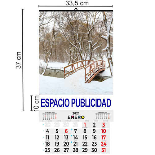 CALENDARIO DOBLE FOLIO MENSUAL 33,5 cm