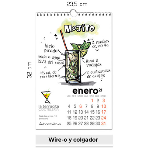 CALENDARIO PARED MENSUAL W-0 -23,5x32cm