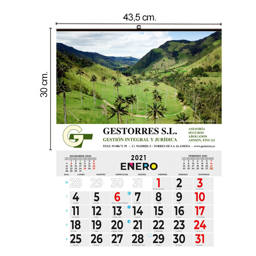 CALENDARIO TODO COLOR 43,5x30cm MENSUAL