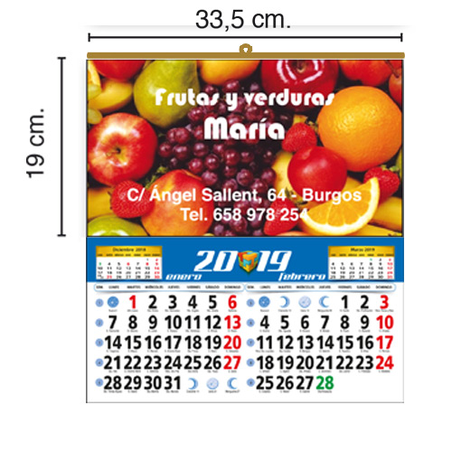 CALENDARIO TODO COLOR 33,5x19 cm BIMENSUAL