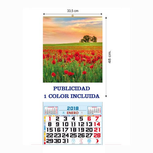 CALENDARIO DOBLE FOLIO MENSUAL 33,5 cm.